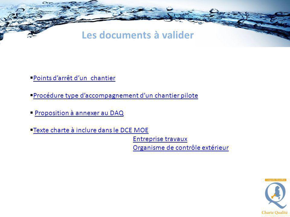 Les documents à valider Points darrêt dun chantier Procédure type daccompagnement dun chantier pilote Proposition à annexer au DAQ Texte charte à incl