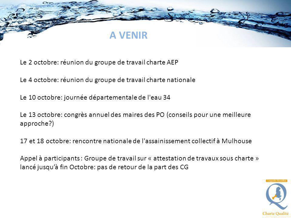 Le 2 octobre: réunion du groupe de travail charte AEP Le 4 octobre: réunion du groupe de travail charte nationale Le 10 octobre: journée départemental