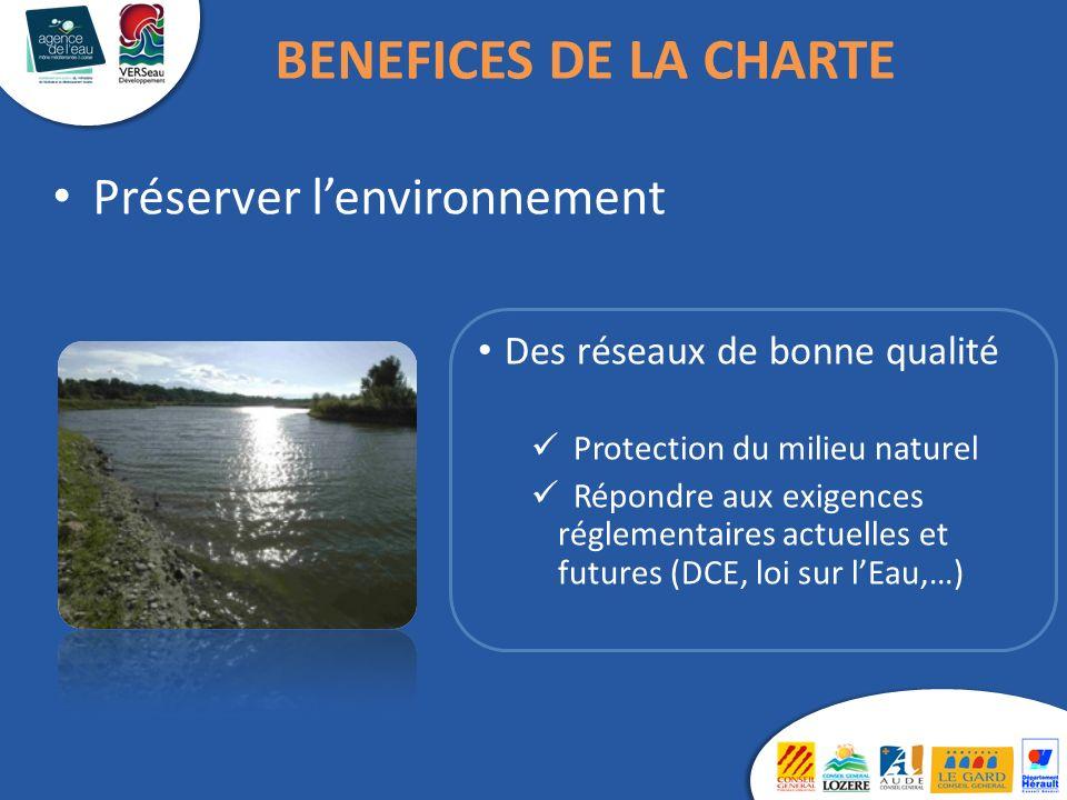 Des réseaux de bonne qualité Protection du milieu naturel Répondre aux exigences réglementaires actuelles et futures (DCE, loi sur lEau,…) Préserver lenvironnement BENEFICES DE LA CHARTE