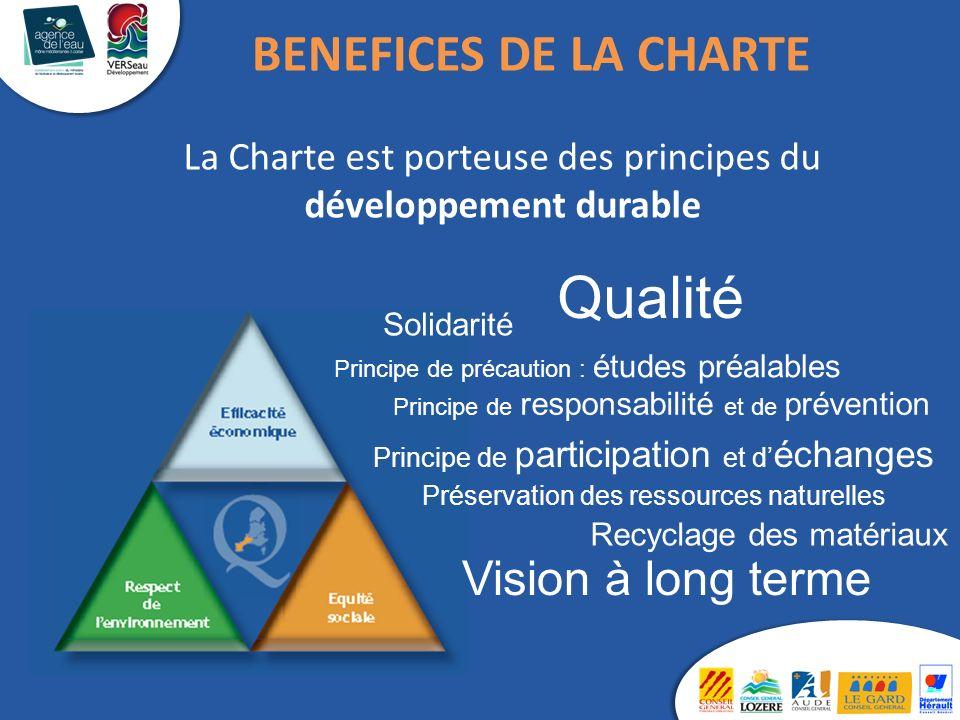 La Charte est porteuse des principes du développement durable Qualité Solidarité Principe de responsabilité et de prévention Principe de précaution :