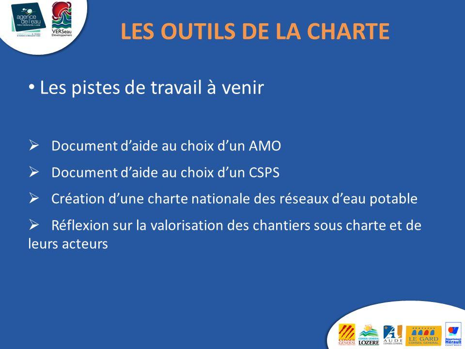 Les pistes de travail à venir Document daide au choix dun AMO Document daide au choix dun CSPS Création dune charte nationale des réseaux deau potable