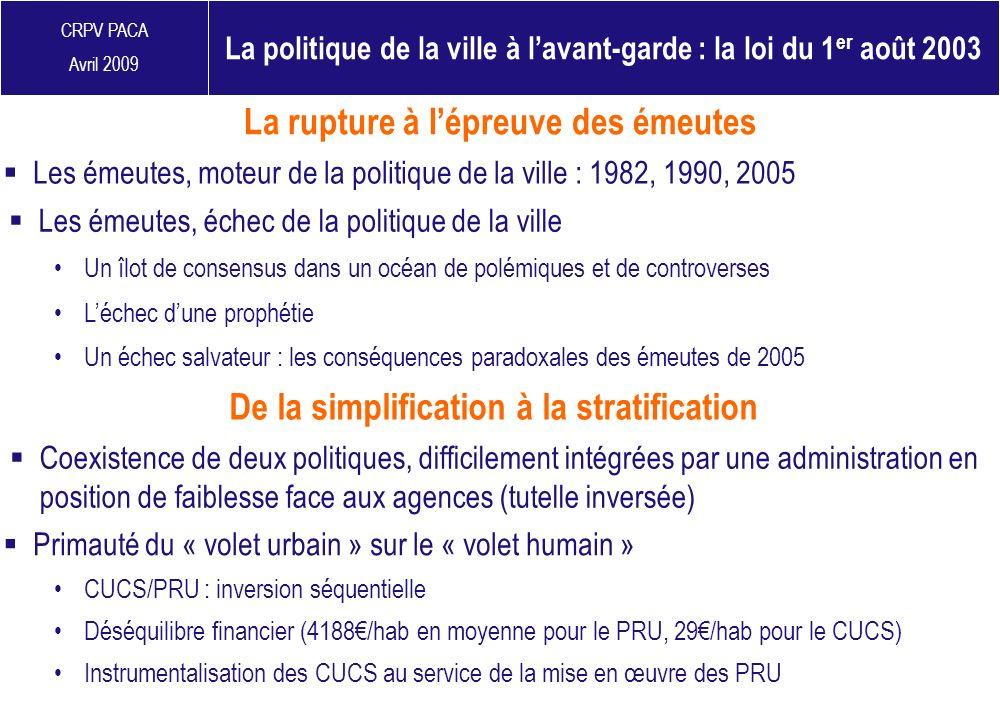 CRPV PACA Avril 2009 Un échec salvateur : les conséquences paradoxales des émeutes de 2005 La rupture à lépreuve des émeutes Coexistence de deux polit