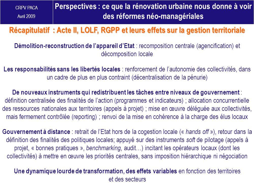 CRPV PACA Avril 2009 Perspectives : ce que la rénovation urbaine nous donne à voir des réformes néo-managériales Démolition-reconstruction de lapparei