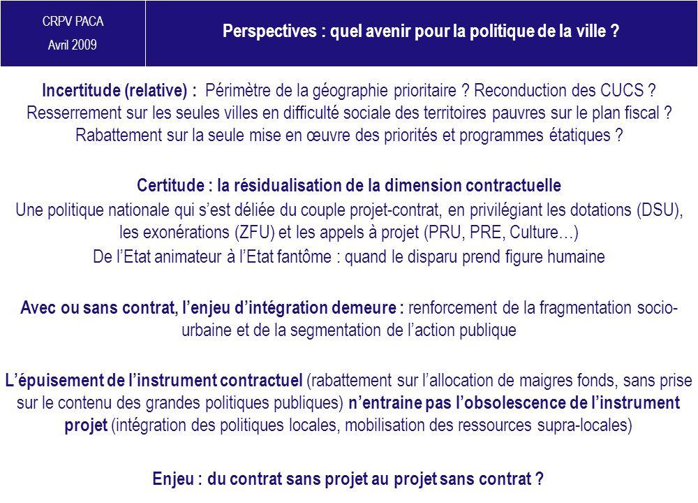 CRPV PACA Avril 2009 Perspectives : quel avenir pour la politique de la ville ? Incertitude (relative) : Périmètre de la géographie prioritaire ? Reco