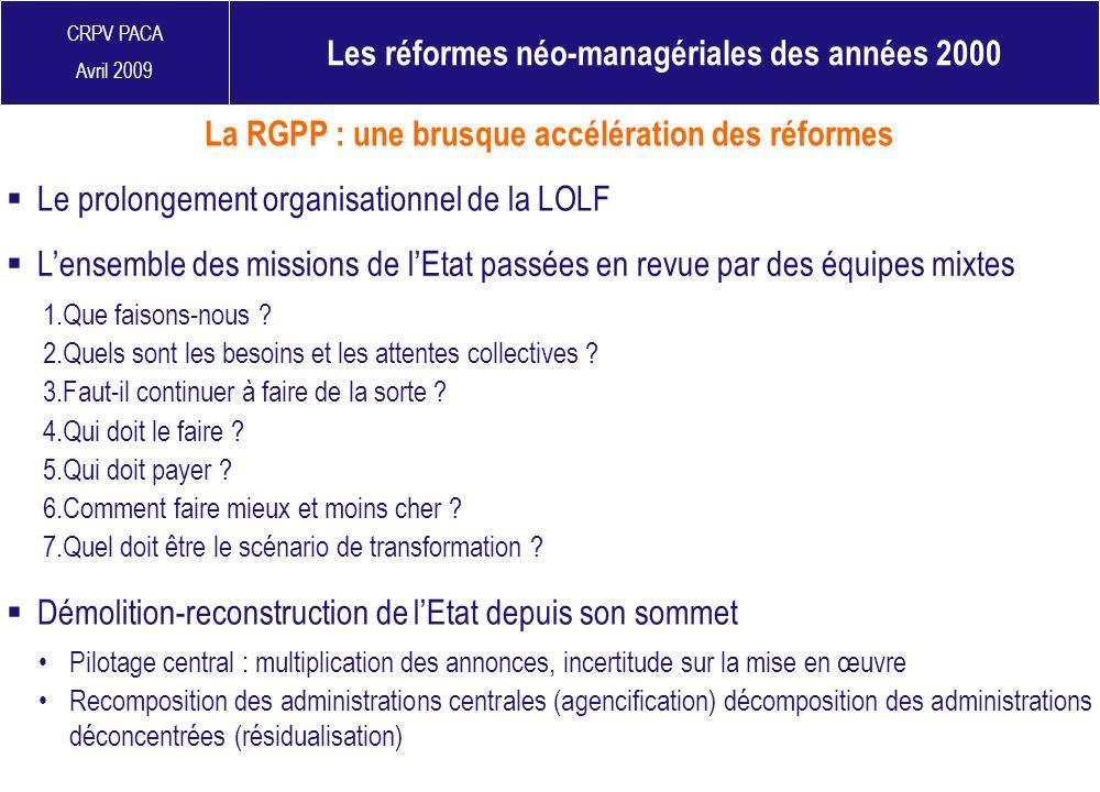 CRPV PACA Avril 2009 Les réformes néo-managériales des années 2000 Le prolongement organisationnel de la LOLF La RGPP : une brusque accélération des r