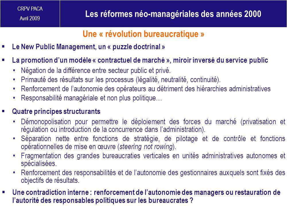 CRPV PACA Avril 2009 Le New Public Management, un « puzzle doctrinal » Une contradiction interne : renforcement de lautonomie des managers ou restaura