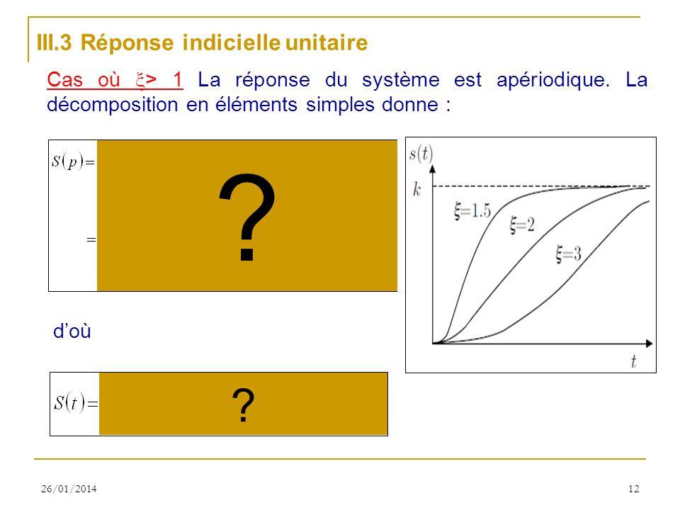 26/01/201412 III.3 Réponse indicielle unitaire Cas où > 1 La réponse du système est apériodique. La décomposition en éléments simples donne : doù ? ?