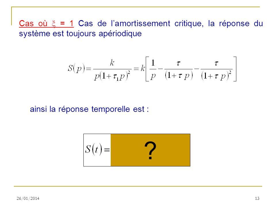 26/01/201413 Cas où = 1 Cas de lamortissement critique, la réponse du système est toujours apériodique ainsi la réponse temporelle est : ?