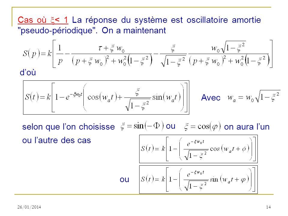 26/01/201414 Cas où < 1 La réponse du système est oscillatoire amortie pseudo-périodique .