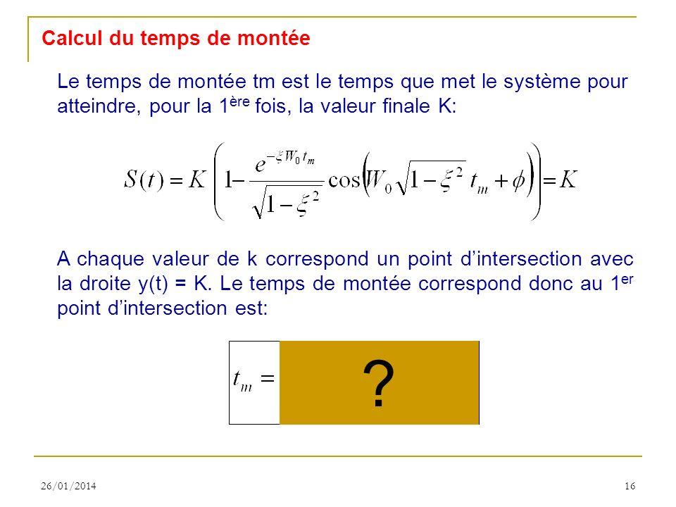 26/01/201416 Calcul du temps de montée Le temps de montée tm est le temps que met le système pour atteindre, pour la 1 ère fois, la valeur finale K: A chaque valeur de k correspond un point dintersection avec la droite y(t) = K.