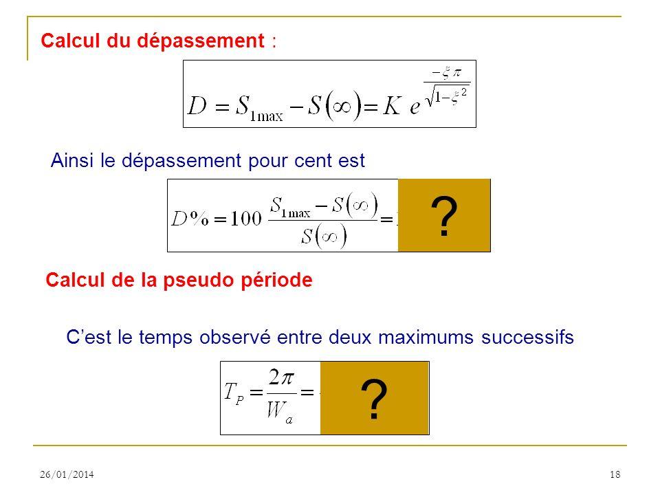 26/01/201418 Calcul du dépassement : Calcul de la pseudo période Cest le temps observé entre deux maximums successifs Ainsi le dépassement pour cent est .
