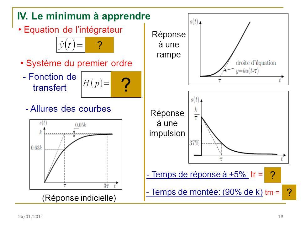 26/01/201419 IV. Le minimum à apprendre Equation de lintégrateur Système du premier ordre - Temps de réponse à ±5%: tr = 3 - Temps de montée: (90% de