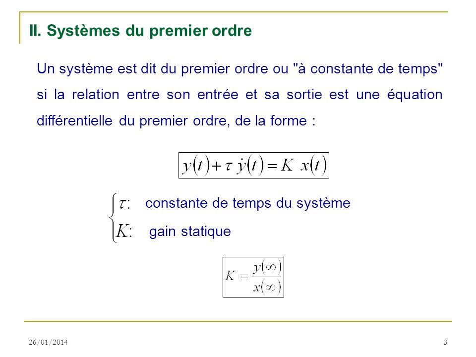 26/01/20143 II. Systèmes du premier ordre Un système est dit du premier ordre ou