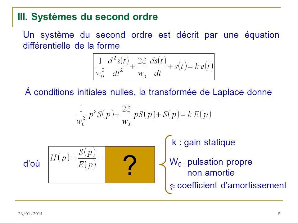 26/01/20148 III. Systèmes du second ordre Un système du second ordre est décrit par une équation différentielle de la forme À conditions initiales nul