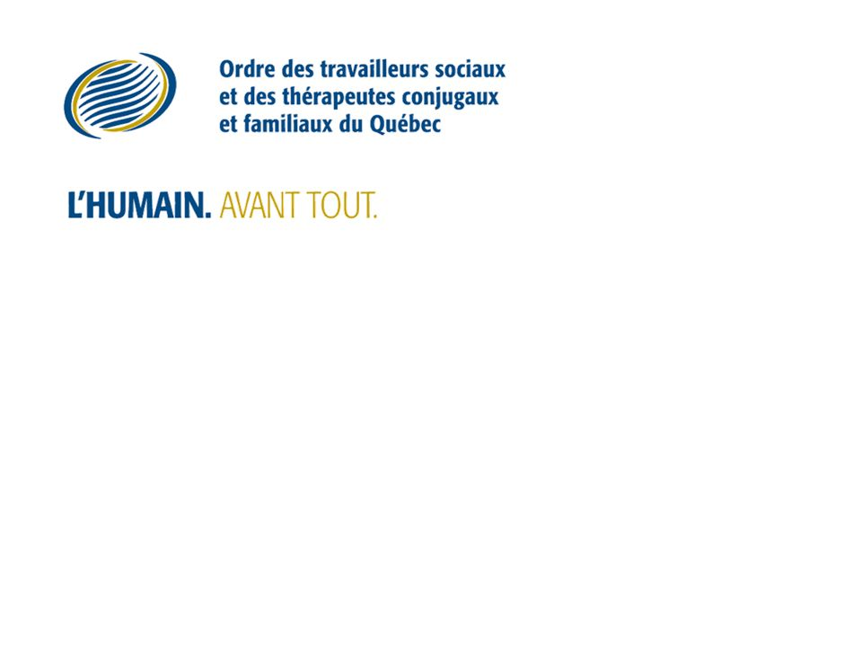 2007 LAssemblée nationale adopte le principe du projet de loi 50 sur la modernisation des pratiques professionnelles en santé mentale et en relations humaines.