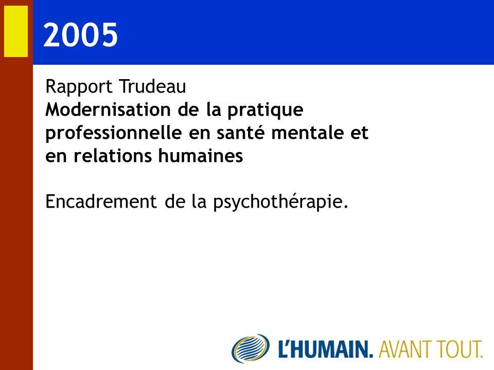 2005 Rapport Trudeau Modernisation de la pratique professionnelle en santé mentale et en relations humaines Encadrement de la psychothérapie.