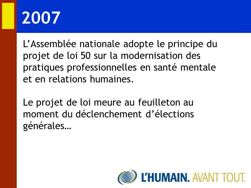 2007 LAssemblée nationale adopte le principe du projet de loi 50 sur la modernisation des pratiques professionnelles en santé mentale et en relations