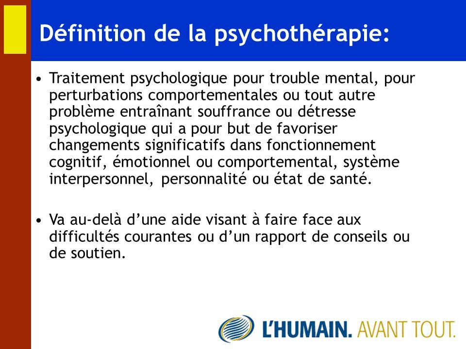 Définition de la psychothérapie: Traitement psychologique pour trouble mental, pour perturbations comportementales ou tout autre problème entraînant s