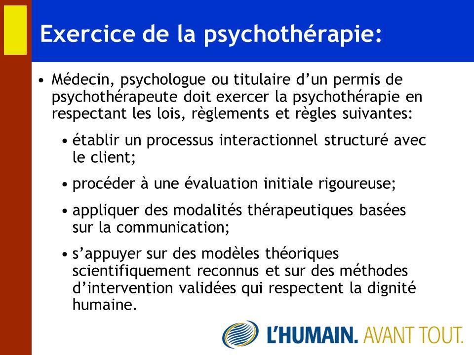 Exercice de la psychothérapie: Médecin, psychologue ou titulaire dun permis de psychothérapeute doit exercer la psychothérapie en respectant les lois,