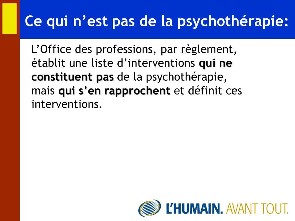 Ce qui nest pas de la psychothérapie: LOffice des professions, par règlement, établit une liste dinterventions q qq qui ne constituent pas de la psych