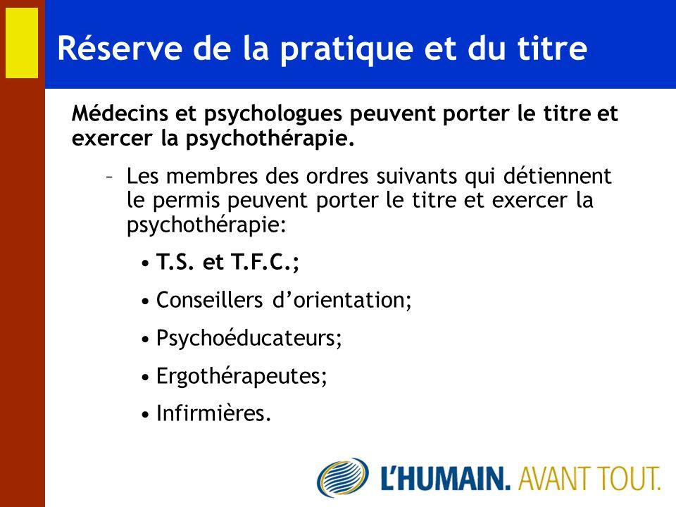 Réserve de la pratique et du titre Médecins et psychologues peuvent porter le titre et exercer la psychothérapie. –Les membres des ordres suivants qui