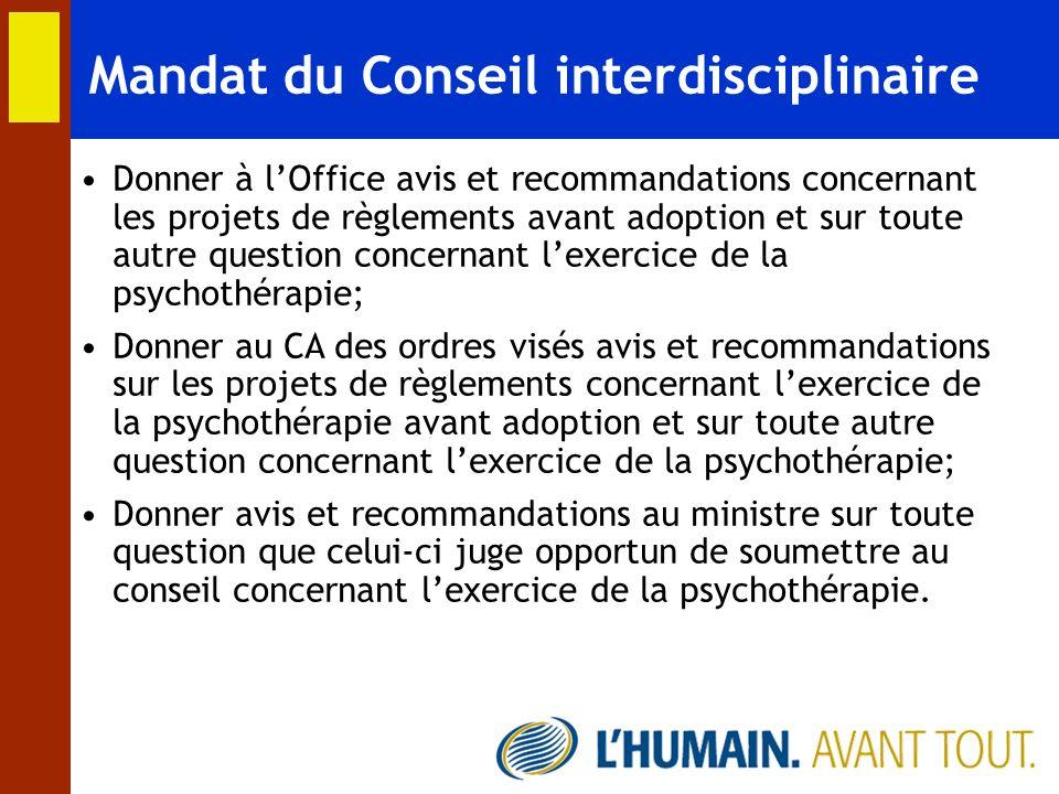 Mandat du Conseil interdisciplinaire Donner à lOffice avis et recommandations concernant les projets de règlements avant adoption et sur toute autre q