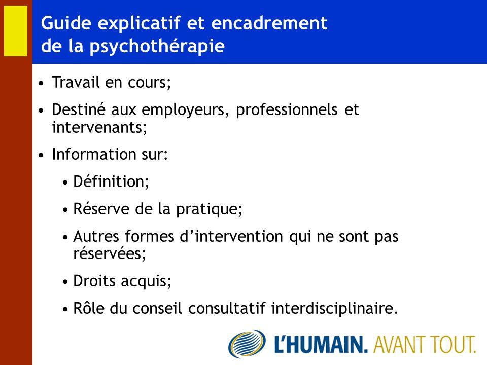 Guide explicatif et encadrement de la psychothérapie Travail en cours; Destiné aux employeurs, professionnels et intervenants; Information sur: Défini
