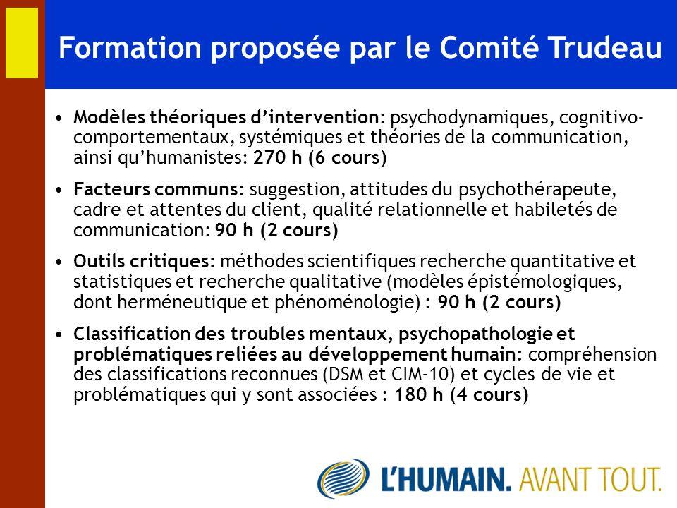 Formation proposée par le Comité Trudeau Modèles théoriques dintervention: psychodynamiques, cognitivo- comportementaux, systémiques et théories de la