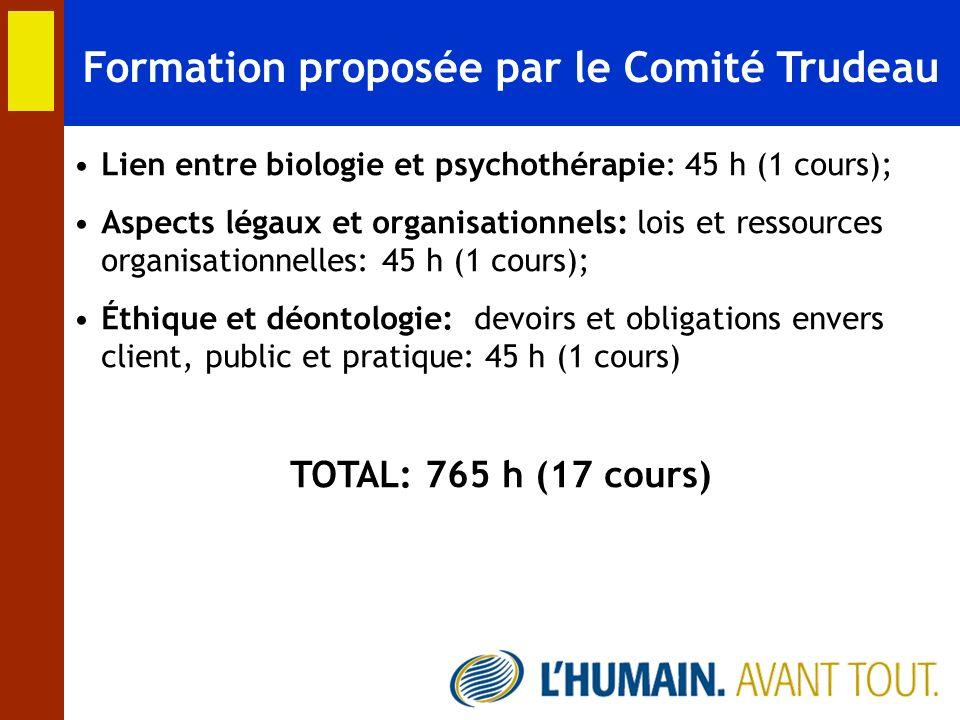 Formation proposée par le Comité Trudeau Lien entre biologie et psychothérapie: 45 h (1 cours); Aspects légaux et organisationnels: lois et ressources