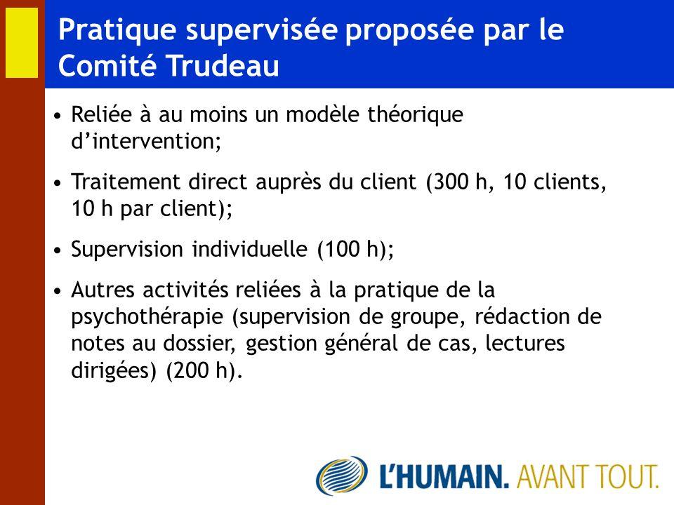 Pratique supervisée proposée par le Comité Trudeau Reliée à au moins un modèle théorique dintervention; Traitement direct auprès du client (300 h, 10