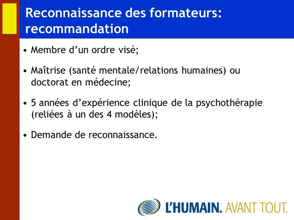 Reconnaissance des formateurs: recommandation Membre dun ordre visé; Maîtrise (santé mentale/relations humaines) ou doctorat en médecine; 5 années dex