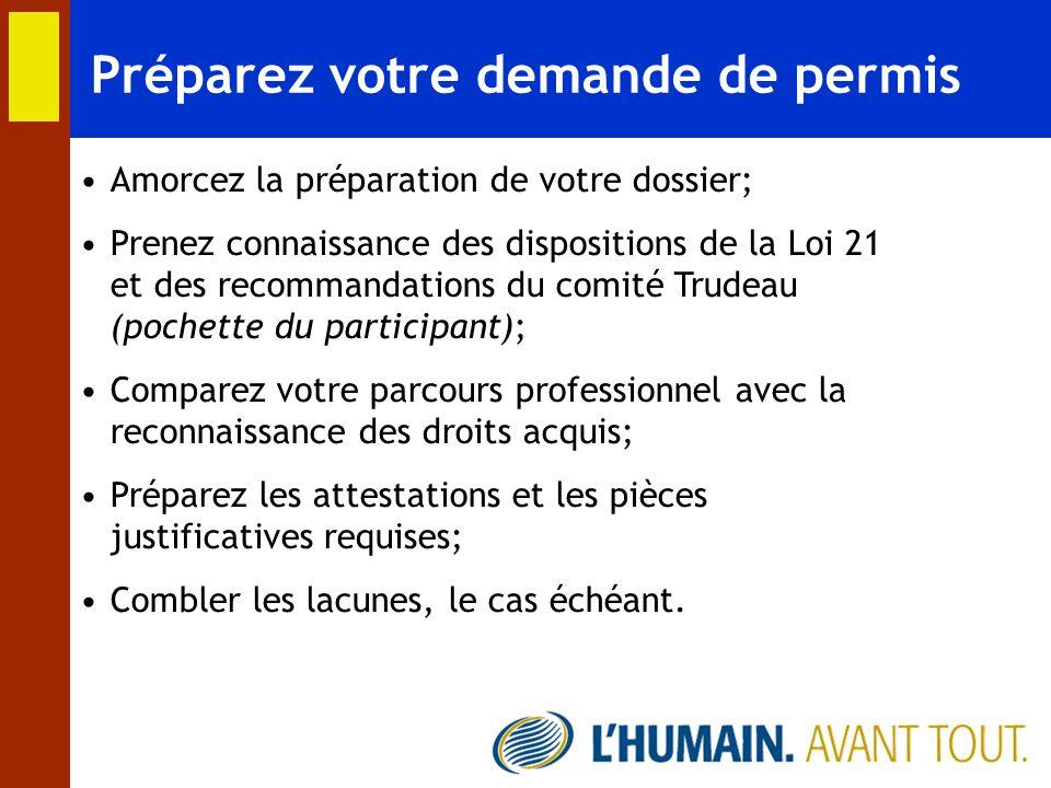 Préparez votre demande de permis Amorcez la préparation de votre dossier; Prenez connaissance des dispositions de la Loi 21 et des recommandations du
