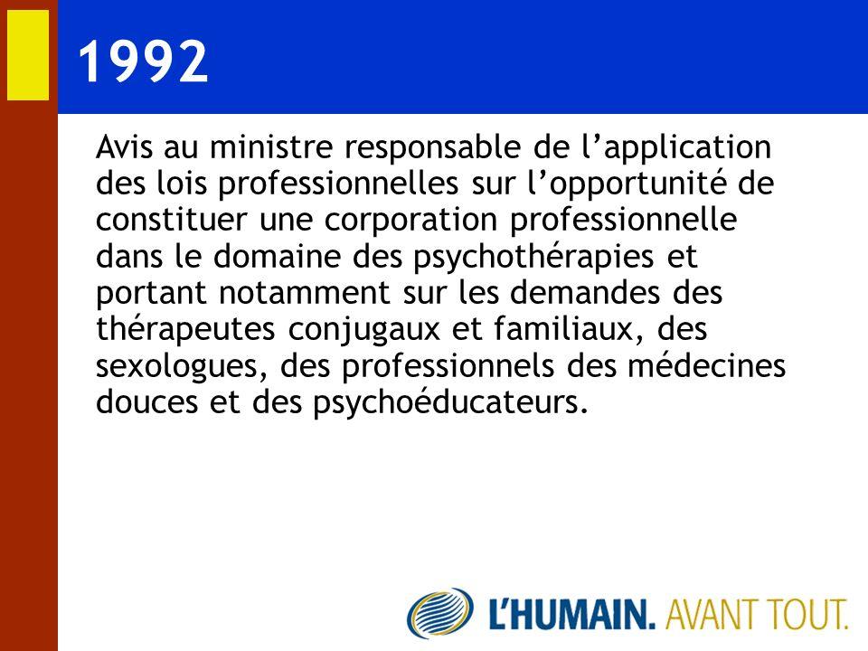La loi prévoit: Encadrement de la pratique de la psychothérapie; Définition de la psychothérapie; Réserve de la pratique et du titre de psychothérapeute aux médecins, aux psychologues et aux membres des ordres dont les membres peuvent être titulaires du permis de psychothérapeute; Gestion du permis par lOrdre des psychologues du Québec; Création dun conseil consultatif interdisciplinaire sur lexercice de la psychothérapie.
