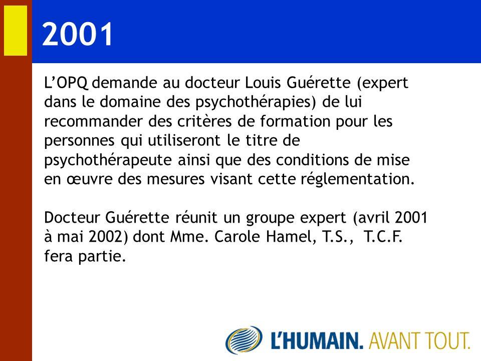 2001 LOPQ demande au docteur Louis Guérette (expert dans le domaine des psychothérapies) de lui recommander des critères de formation pour les personn