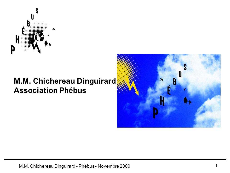 1 M.M. Chichereau Dinguirard - Phébus - Novembre 2000 M.M. Chichereau Dinguirard Association Phébus