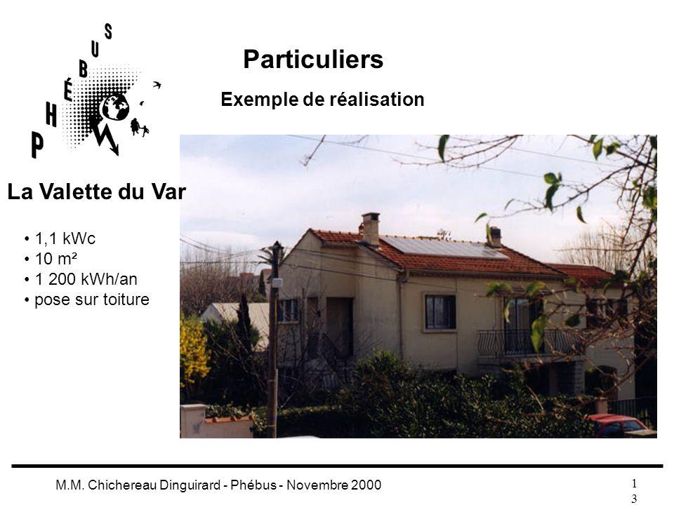 1313 M.M. Chichereau Dinguirard - Phébus - Novembre 2000 Particuliers Exemple de réalisation 1,1 kWc 10 m² 1 200 kWh/an pose sur toiture La Valette du