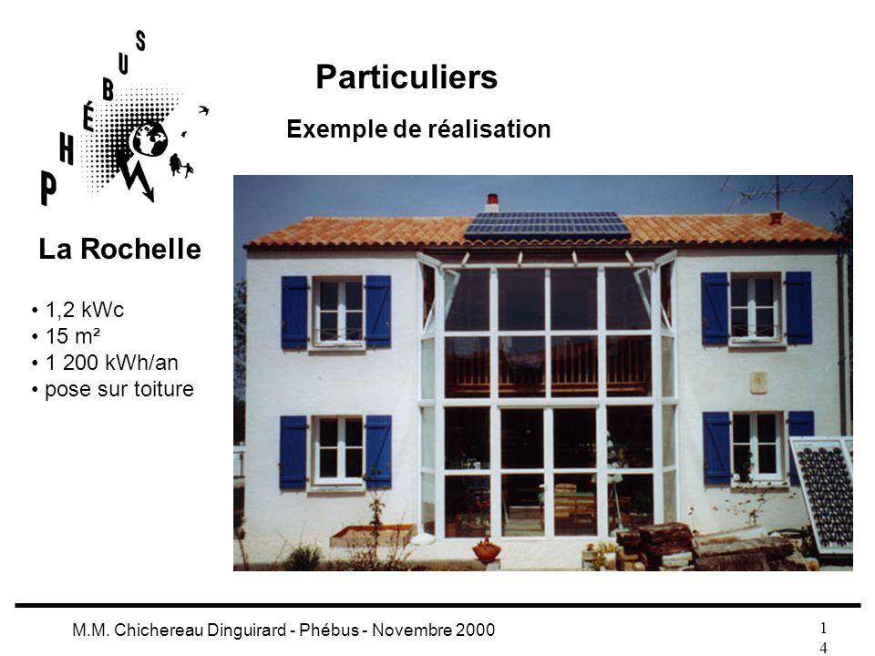 1414 M.M. Chichereau Dinguirard - Phébus - Novembre 2000 Particuliers Exemple de réalisation 1,2 kWc 15 m² 1 200 kWh/an pose sur toiture La Rochelle