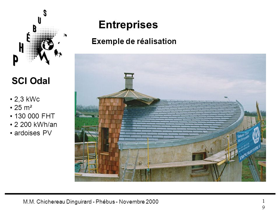 1919 M.M. Chichereau Dinguirard - Phébus - Novembre 2000 Entreprises Exemple de réalisation 2,3 kWc 25 m² 130 000 FHT 2 200 kWh/an ardoises PV SCI Oda