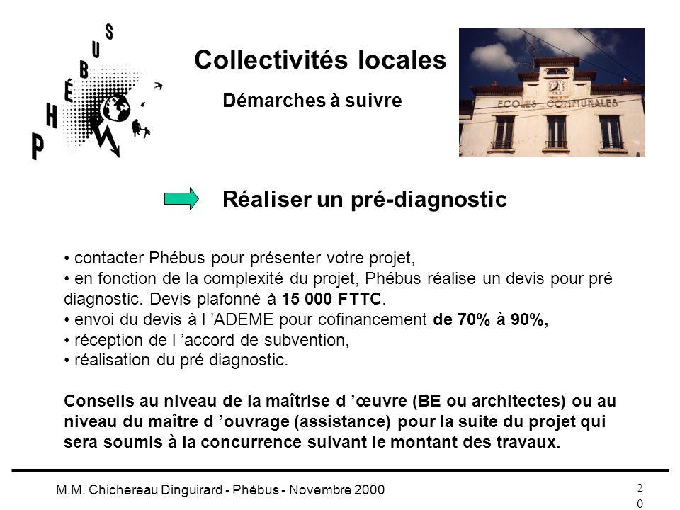 2020 M.M. Chichereau Dinguirard - Phébus - Novembre 2000 Collectivités locales Démarches à suivre Réaliser un pré-diagnostic contacter Phébus pour pré