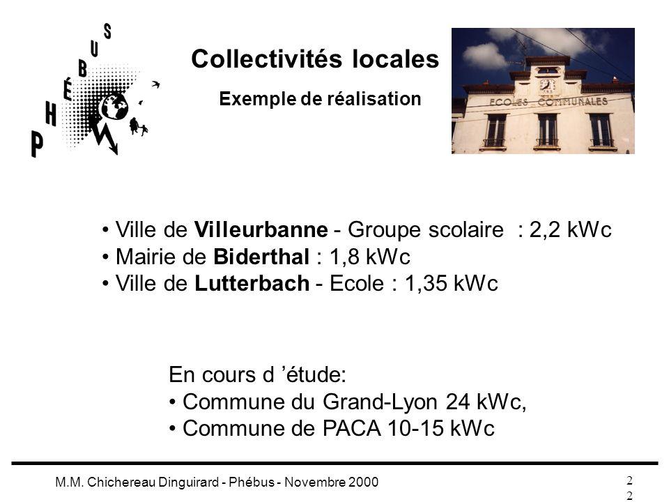 2 M.M. Chichereau Dinguirard - Phébus - Novembre 2000 Collectivités locales Exemple de réalisation Ville de Villeurbanne - Groupe scolaire : 2,2 kWc M