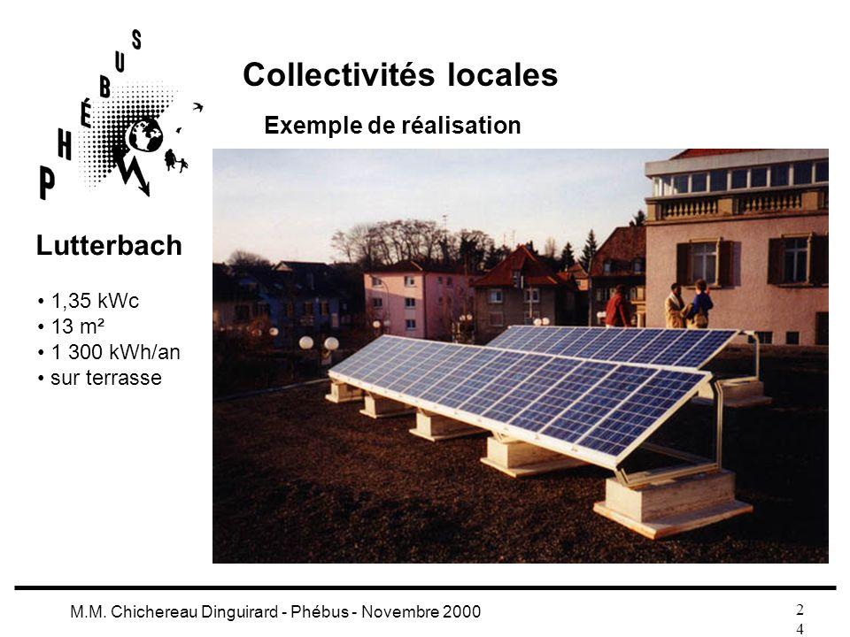 2424 M.M. Chichereau Dinguirard - Phébus - Novembre 2000 Collectivités locales Exemple de réalisation 1,35 kWc 13 m² 1 300 kWh/an sur terrasse Lutterb