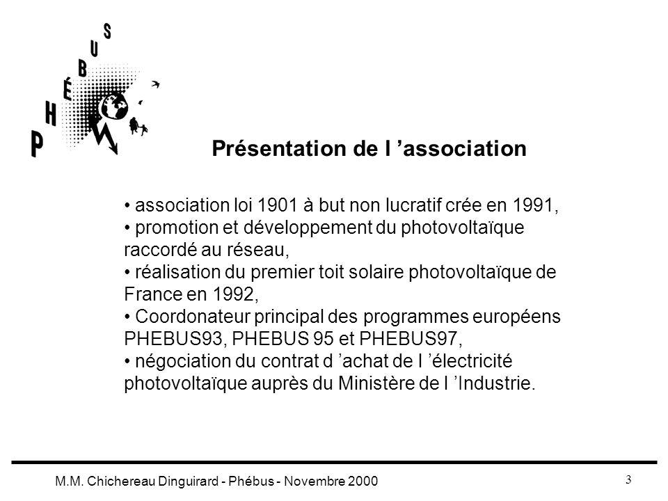 3 M.M. Chichereau Dinguirard - Phébus - Novembre 2000 Présentation de l association association loi 1901 à but non lucratif crée en 1991, promotion et