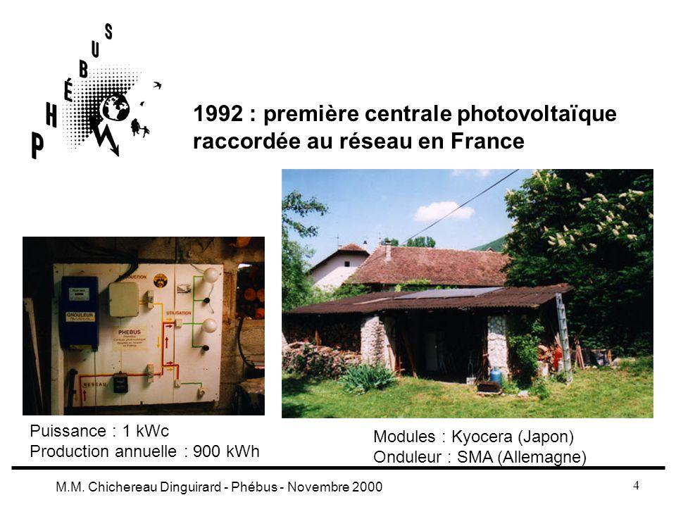 4 M.M. Chichereau Dinguirard - Phébus - Novembre 2000 1992 : première centrale photovoltaïque raccordée au réseau en France Puissance : 1 kWc Producti