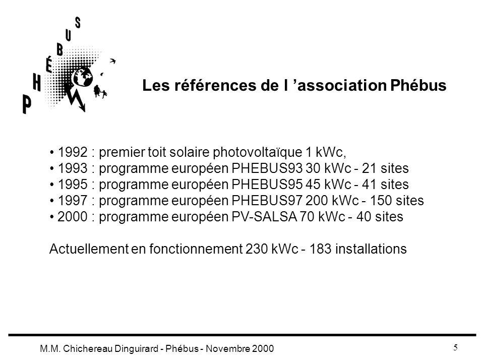 5 M.M. Chichereau Dinguirard - Phébus - Novembre 2000 Les références de l association Phébus 1992 : premier toit solaire photovoltaïque 1 kWc, 1993 :