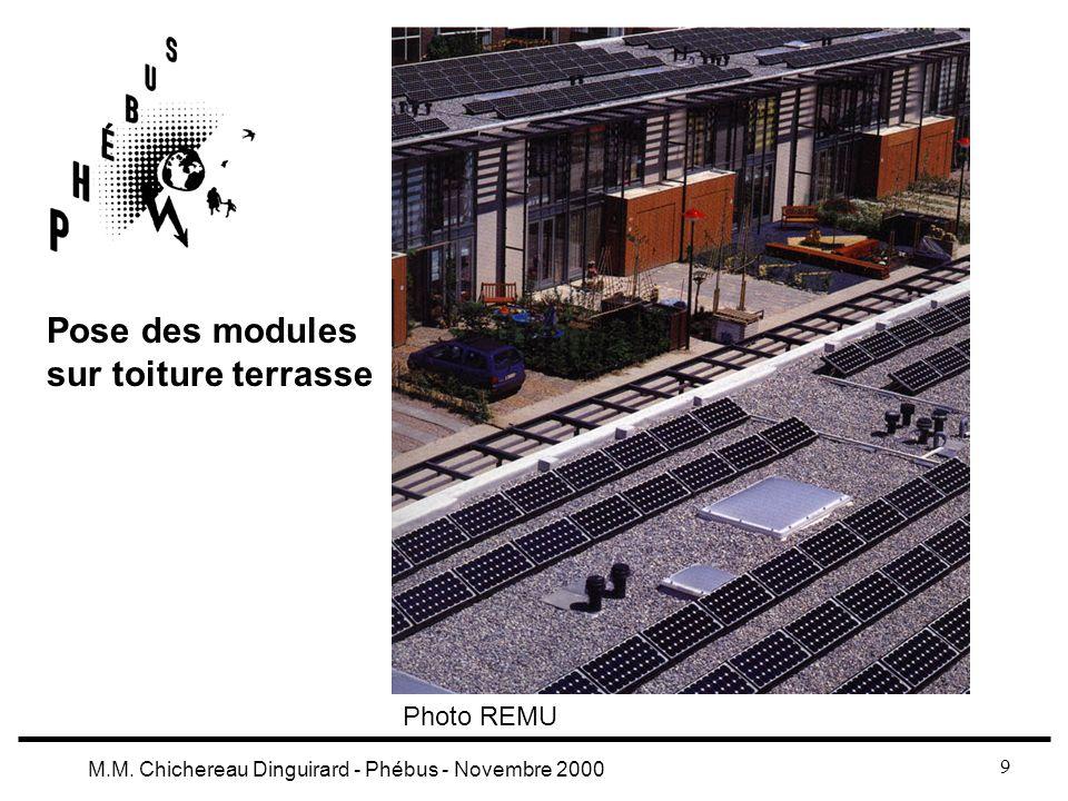 9 M.M. Chichereau Dinguirard - Phébus - Novembre 2000 Pose des modules sur toiture terrasse Photo REMU