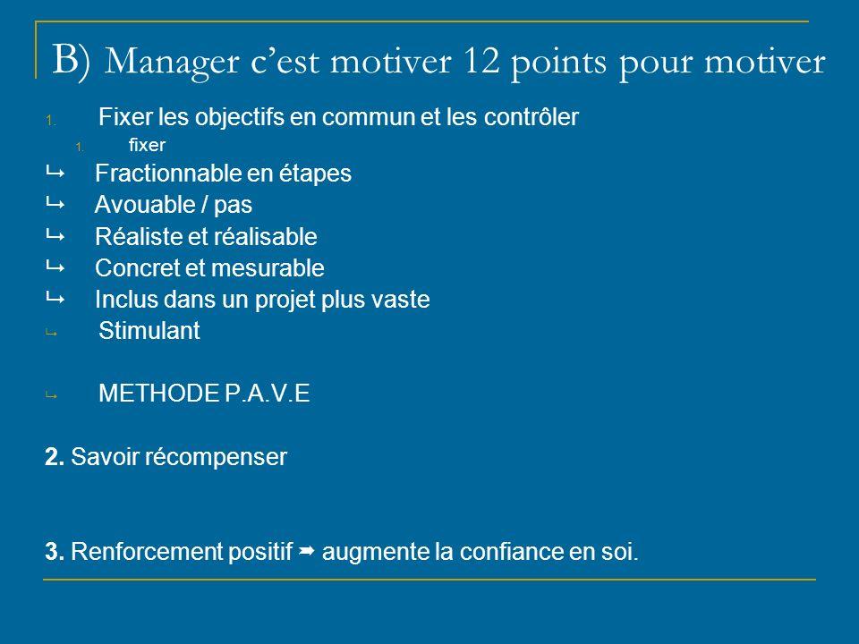 B) Manager cest motiver 12 points pour motiver 1. Fixer les objectifs en commun et les contrôler 1. fixer Fractionnable en étapes Avouable / pas Réali