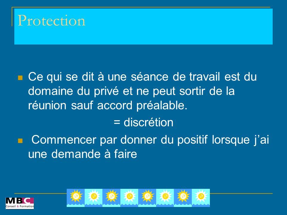 Protection Ce qui se dit à une séance de travail est du domaine du privé et ne peut sortir de la réunion sauf accord préalable. = discrétion Commencer