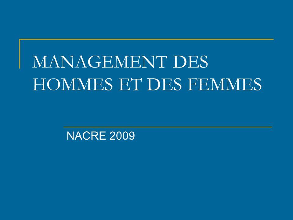 MANAGEMENT DES HOMMES ET DES FEMMES NACRE 2009