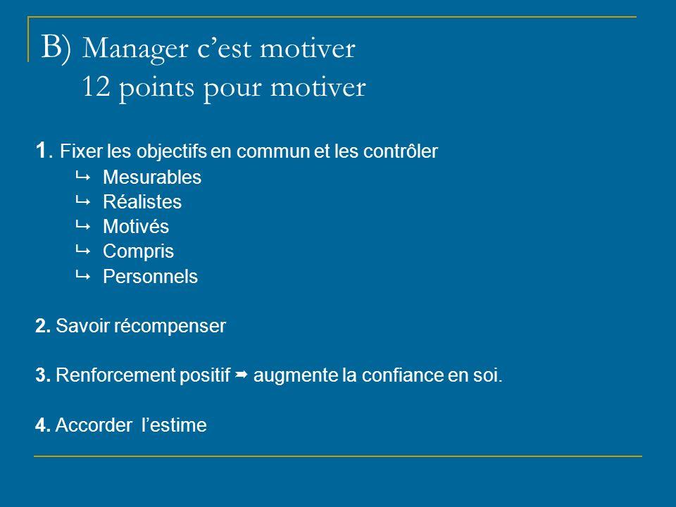 B) Manager cest motiver 12 points pour motiver 1. Fixer les objectifs en commun et les contrôler Mesurables Réalistes Motivés Compris Personnels 2. Sa