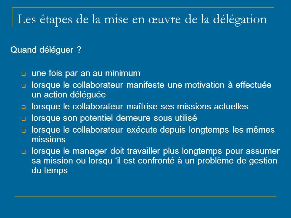 Les étapes de la mise en œuvre de la délégation Quand déléguer ? une fois par an au minimum lorsque le collaborateur manifeste une motivation à effect